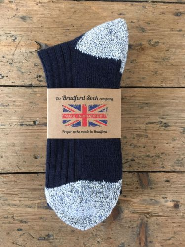 Men's Navy Walking Socks - with Terry Foot. Cotton & Wool. Size SMALL Only.